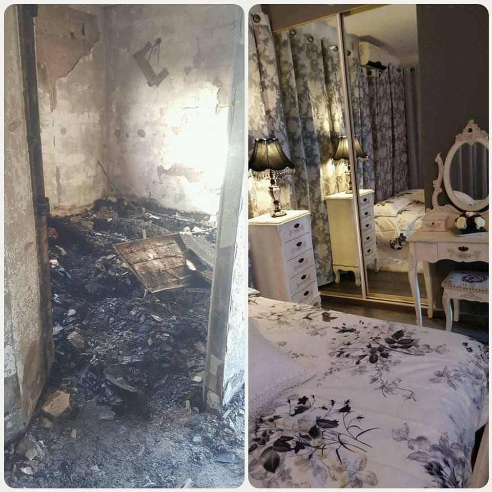 לפני (מצד ימין) ואחרי השריפה (צד שמאל)