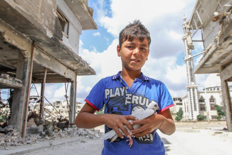ילד סורי מחזיק בידו יונה לאחר הפצצה