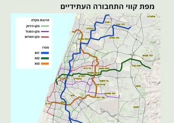 מפת קווי התחבורה העתידיים