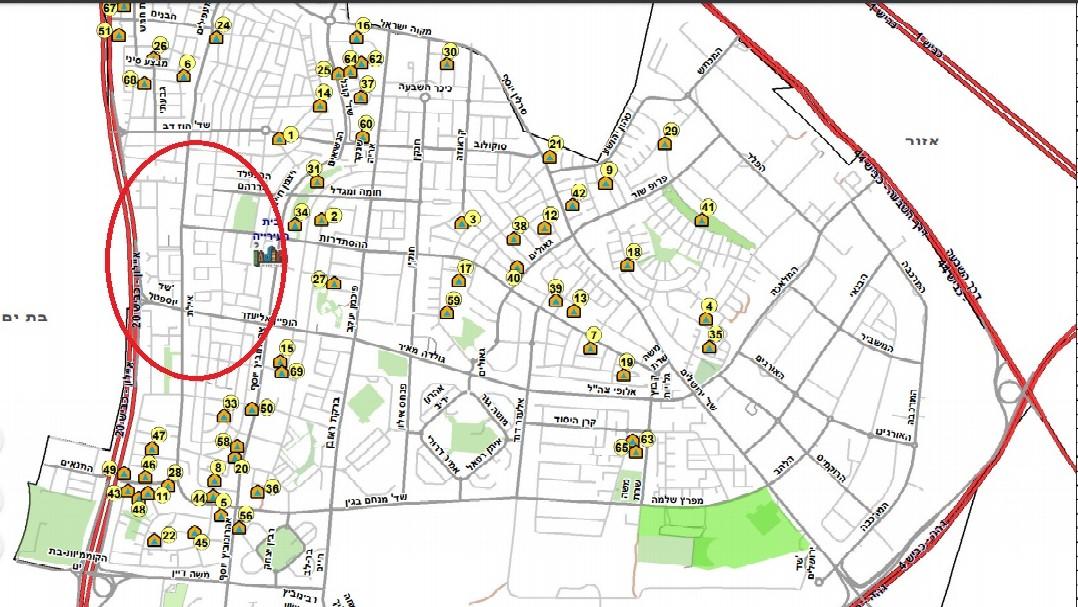 שטח ללא מקלטים בעיר - מוקף באדום