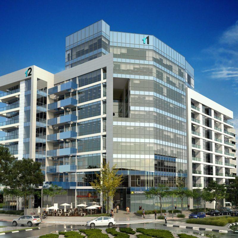 פרוייקט T1 במרכז העסקים החדש שבחולון. תמונה: תורג'מן בנייה