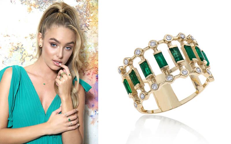"""טבעת יהלומים ואבני אמרלד, זהב 14k ב-3,990 ש""""ח. צילום: איתן טל"""