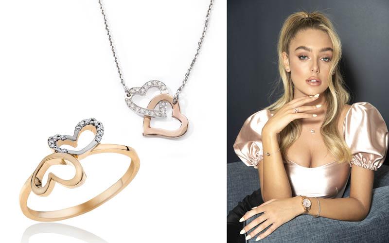 """טבעת לבבות יהלומים, זהב 14k ב-1,190 ש""""ח. שרשרת יהלומים לבבות, 14k ב-1,490 ש""""ח. צילום: איתן טל"""