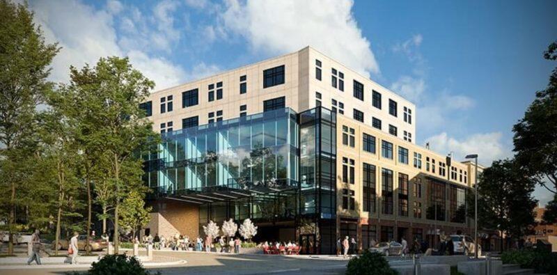 מעונות סטודנטים בשילוב שטח מסחרי בעיר אית'קה שבמדינת ניו יורק, ארהב (קרדיט הדמיה טריפל די הדמיות)
